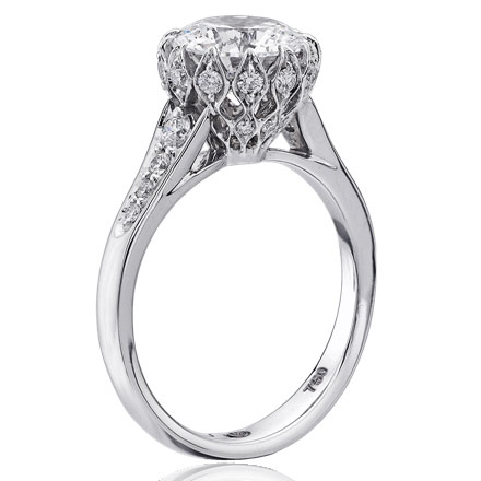 Christopher Designs ring with Crisscut Round center surrounded by round diamonds